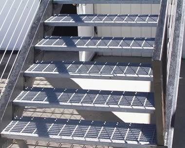 Stair Treads With Serrated Grating To Maximize Skip Resistance